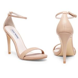Steve Madden • Strappy Nude Tan Stecy Patent Pumps